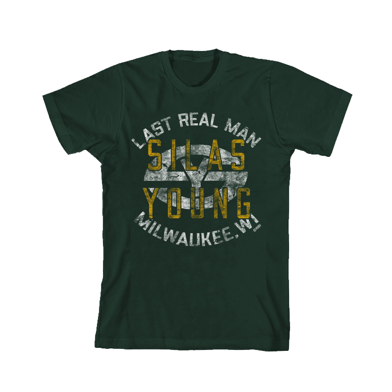"SILAS  YOUNG ""LAST REAL MAN"" GREEN T-SHIRT"
